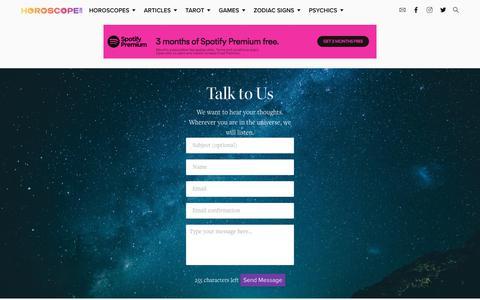 Screenshot of Contact Page horoscope.com - Horoscope.com Feedback Form - captured Jan. 18, 2020