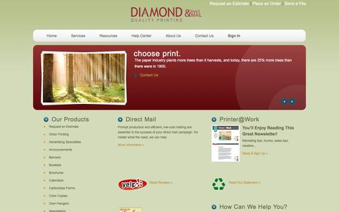 Screenshot of Home Page diamondqualityprinting.com - Diamond Quality Printing & Direct Mail - captured Feb. 9, 2016