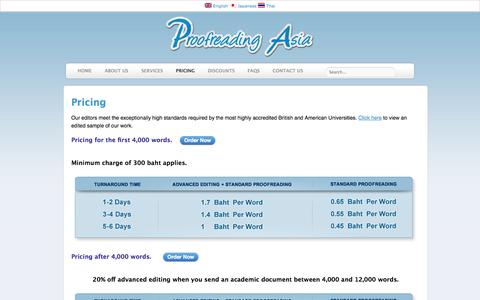 Screenshot of Pricing Page proofreadingasia.com - Proofreading Asia - Pricing | English Proofreading Company in Thailand. Perfection is Possible - captured Sept. 30, 2014