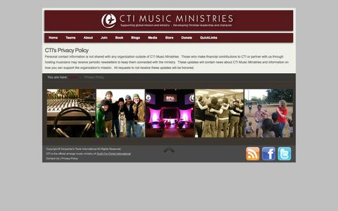 Screenshot of Privacy Page ctimusic.org - Privacy Policy - CTI Music Ministries | CTI Music Ministries - captured Oct. 1, 2014