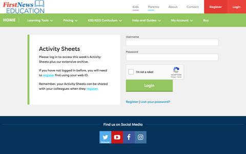 Screenshot of Login Page firstnews.co.uk - Login - First News for Schools - First News for Schools - captured Nov. 6, 2018