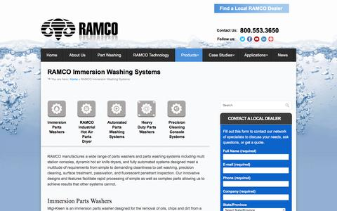 Screenshot of Products Page ramkleen.com - RAMCO Immersion Washing Systems - RAMCO Parts Washers - captured Nov. 4, 2017