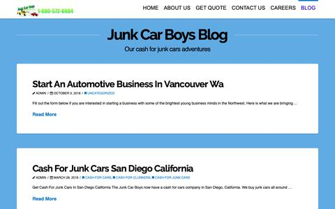 Screenshot of Blog junkcarboys.com - Blog | Junk Car Boys - Cash For Cars | We Buy Junk Cars - captured Oct. 14, 2018