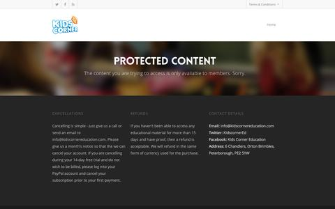 Screenshot of Trial Page kidscornereducation.com - Protected Content - Kids Corner Membership Area - captured Sept. 20, 2018