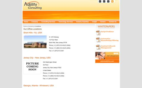 Screenshot of Locations Page adjility.com - Adjility Consulting - captured Feb. 5, 2016