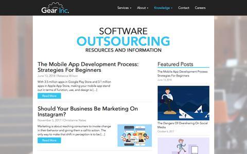 Screenshot of Blog gearinc.com - Gear Inc - Software Outsourcing | Blog - captured July 10, 2018