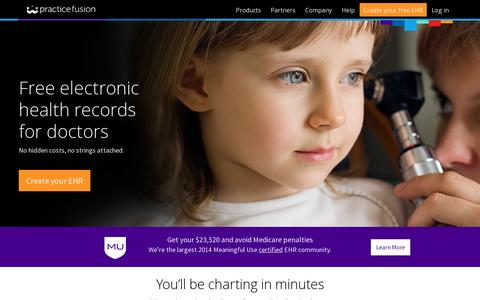 Screenshot of Home Page practicefusion.com - Free, web-based Electronic Health Record (EHR) | Practice Fusion - captured July 11, 2014