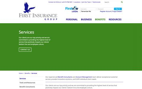 Screenshot of Services Page firstinsurancegrp.com - First Insurance Group | Ohio Insurance Company | OH Insurance - captured Sept. 27, 2018