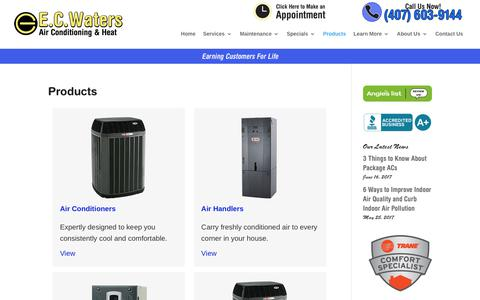 Screenshot of Products Page ecwaters.com - Trane Heating and Air Conditioning Systems Orlando, FL - captured July 7, 2017