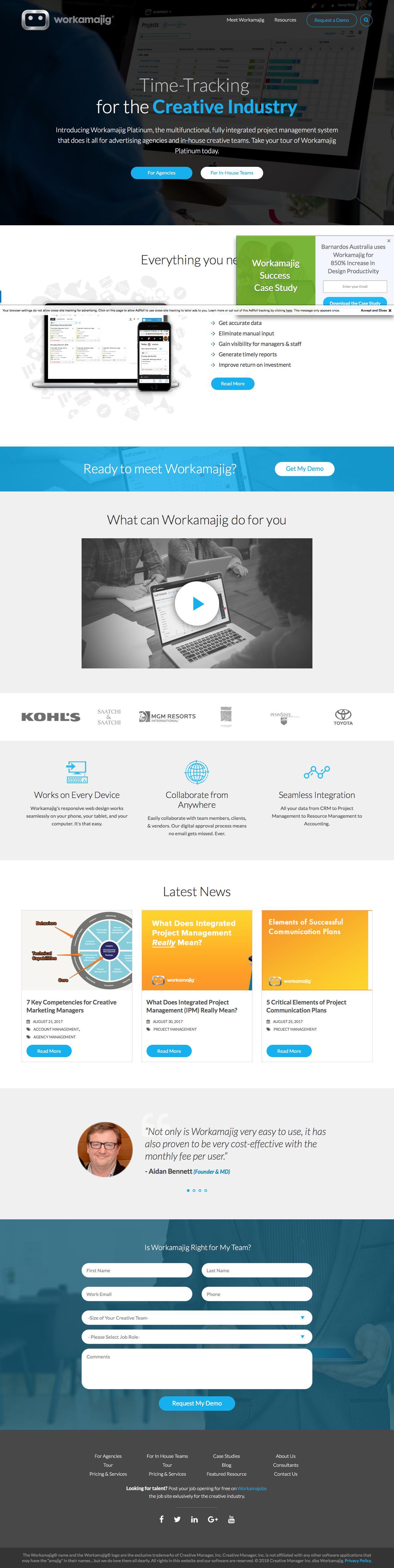 Screenshot of workamajig.com - Workamajig | Project Management Software for Marketing Teams - captured March 1, 2018