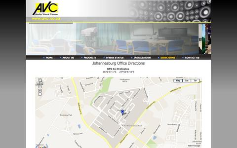 Screenshot of Maps & Directions Page avc.co.za - Audio Visual Centre - Directions - captured Oct. 4, 2014