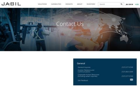 Screenshot of Contact Page jabil.com - Contact | Jabil - captured May 21, 2017