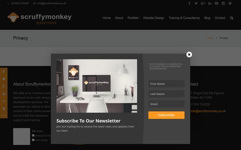 Screenshot of Privacy Page scruffymonkey.co.uk - Scruffymonkey Digital Media - Website Design Bolton - Privacy - captured Feb. 8, 2016
