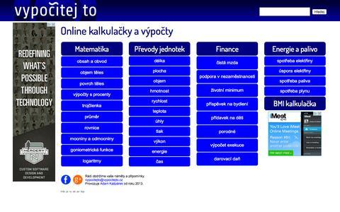 Screenshot of Home Page vypocitejto.cz - Vypočítej to — online kalkulačky, vzorce, výpočty - captured Nov. 22, 2015