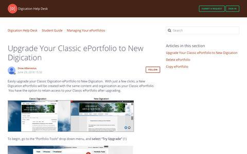 Screenshot of Support Page digication.com - Upgrade Your Classic ePortfolio to New Digication – Digication Help Desk - captured Jan. 8, 2020