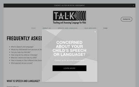 Screenshot of FAQ Page talkpeninsula.com - FAQs — TALK - captured Oct. 18, 2018