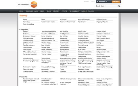 Screenshot of Site Map Page testolimited.com - Sitemap | Testo Limited Instruments - captured Oct. 26, 2014