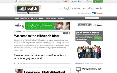 Screenshot of Blog talkhealthpartnership.com - talkhealth Blog   The talkhealth blogs are one of the leading health blog sites – bringing together the widest range of health subjects from a diverse set of bloggers. - captured Oct. 27, 2014