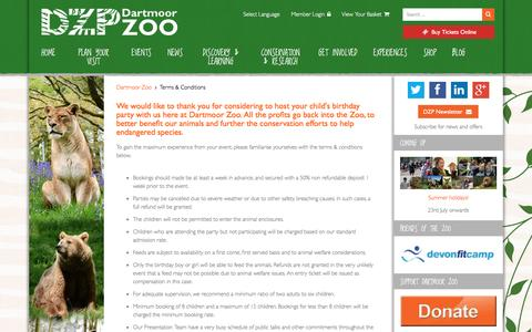 Screenshot of Terms Page dartmoorzoo.org.uk - Terms & Conditions - Dartmoor Zoo - captured Aug. 31, 2016