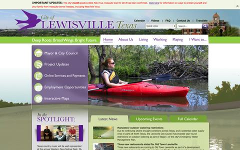 Screenshot of Home Page cityoflewisville.com - City of Lewisville, TX : Home - captured Sept. 19, 2014