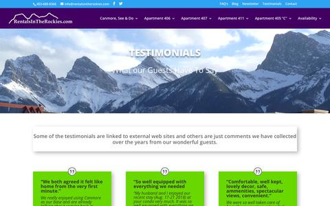 Screenshot of Testimonials Page rentalsintherockies.com - Testimonials | Rentals In The Rockies - captured Oct. 22, 2018