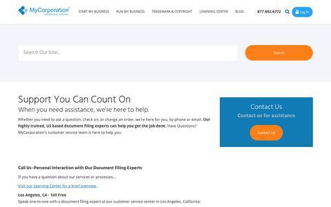 Screenshot of Support Page mycorporation.com - Support | MyCorporation® - captured Nov. 17, 2019