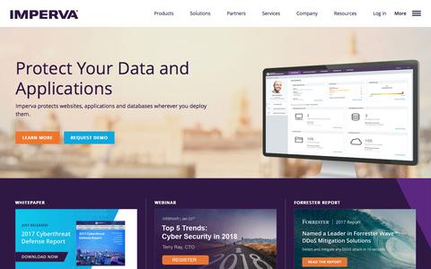 Screenshot of Home Page imperva.com - Cyber Security Leader | Imperva, Inc. - captured March 2, 2018