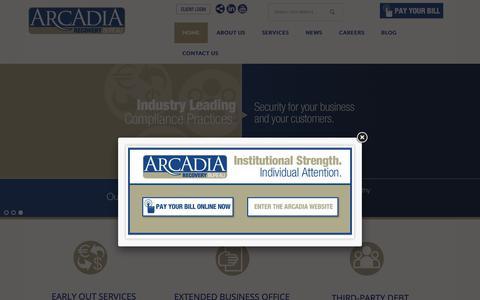 Screenshot of Home Page arcadiarecovery.com - Arcadia Recovery Bureau - captured Nov. 20, 2018