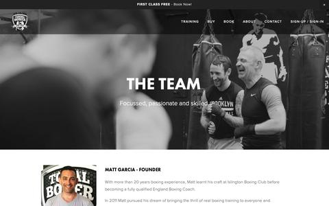 Screenshot of Team Page totalboxer.com - The Team — North London Boxing Club - captured Nov. 18, 2018