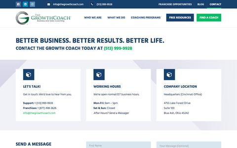 Screenshot of Contact Page thegrowthcoach.com - Contact - The Growth Coach - captured July 23, 2019