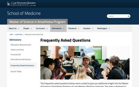 Screenshot of FAQ Page case.edu - Frequently Asked Questions | Master of Science in Anesthesia Program | School of Medicine | Case Western Reserve University | Case Western Reserve University - captured Oct. 25, 2018