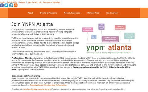 Screenshot of Signup Page ynpnatlanta.org - Become a Member - captured Oct. 19, 2018