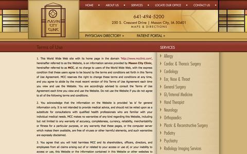 Screenshot of Terms Page mcclinic.com - Mason City Clinic | Terms of Use | Mason City Clinic - captured Oct. 27, 2014