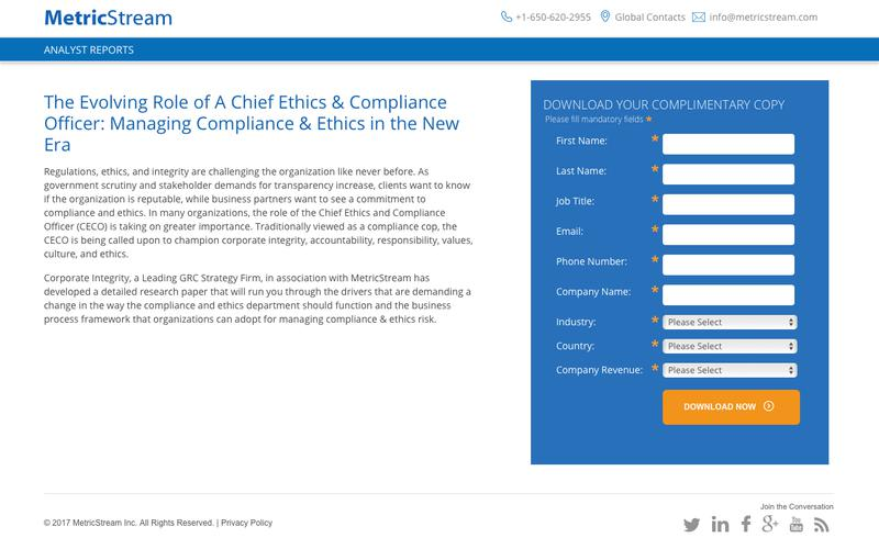 The Evolving Role of A Chief Ethics & Compliance Officer: Managing Compliance & Ethics in the New Era - Analyst Report - MetricStream