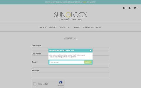 Screenshot of Contact Page sunology.com - Contact Us - Sunology Mineral Sunscreen - captured Oct. 18, 2017