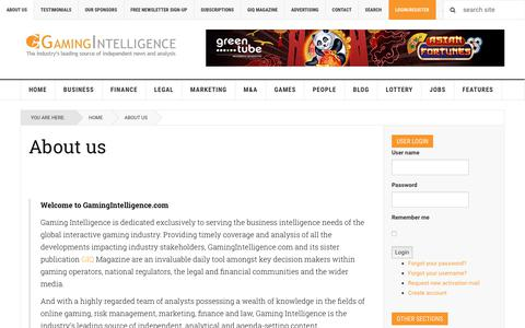 Screenshot of About Page gamingintelligence.com - About Us - Gaming Intelligence - captured Nov. 4, 2018