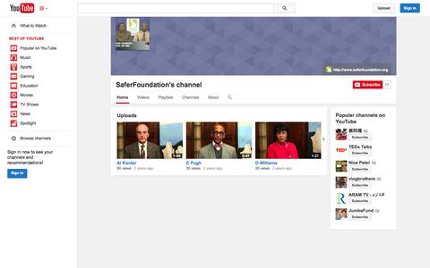 Screenshot of YouTube Page youtube.com - SaferFoundation's channel  - YouTube - captured Oct. 23, 2014
