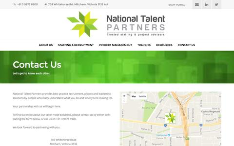 Screenshot of Contact Page nationaltalentpartners.com.au - Contact Us - National Talent Partners - captured Aug. 12, 2016