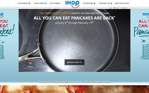 Screenshot of Home Page ihop.com - Welcome to IHOP - captured Feb. 11, 2016
