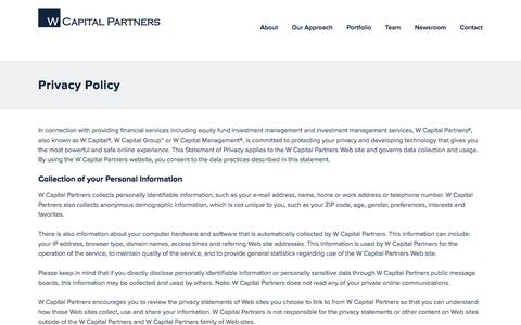 Screenshot of Privacy Page wcapgroup.com - Privacy Policy | W Capital Partners - captured Oct. 18, 2017