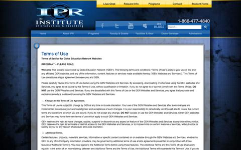 Screenshot of Terms Page ipr.edu - IPR Terms of Use - captured Sept. 25, 2014