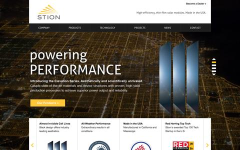 Screenshot of Home Page stion.com - Stion: High-efficiency, thin-film solar modules. Made in the USA. - captured Sept. 17, 2014