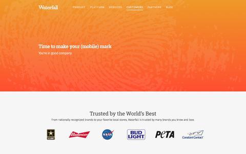 Screenshot of Case Studies Page waterfall.com - Customers - Waterfall - captured May 20, 2016
