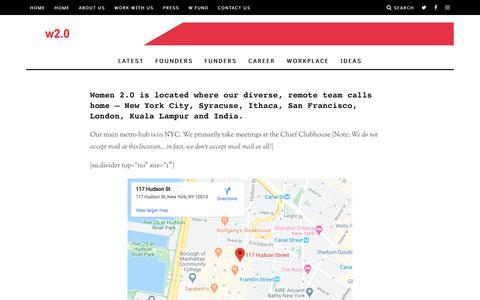 Screenshot of Contact Page women2.com - Contact Us – Women 2.0 - captured Feb. 12, 2020