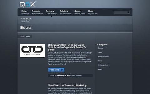 Screenshot of Press Page q5x.com - News « Q5X - captured Oct. 3, 2014
