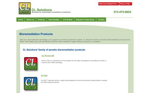 Screenshot of Products Page cl-solutions.com - Bioremediation Products - captured Oct. 1, 2014
