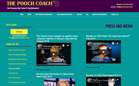 Screenshot of Press Page poochcoach.com - Press and Media - captured Oct. 20, 2018
