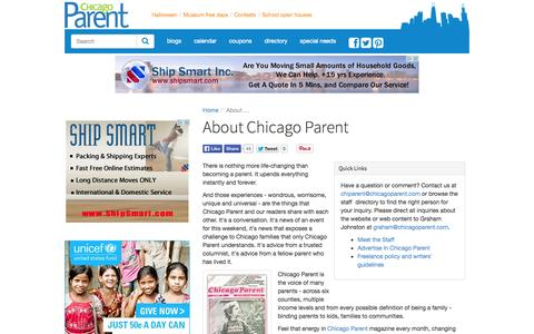 Screenshot of About Page chicagoparent.com - About Chicago Parent | ChicagoParent.com - captured Sept. 24, 2014