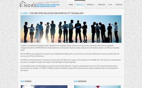 Screenshot of About Page ehors.com - E-Hors | Electronic Hotel Operations & Reservation System - About Us - captured Oct. 1, 2014