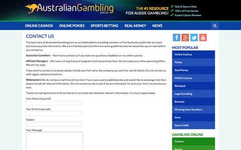 Screenshot of Contact Page australiangambling.com.au - Contact Australian Online Gambling Site - AustralianGambling.com.au - captured May 31, 2017
